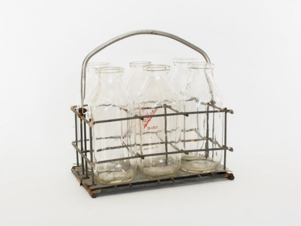 Vintage Milk Holder and Bottles
