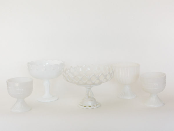 Clear Milk Glass Candy Dishes
