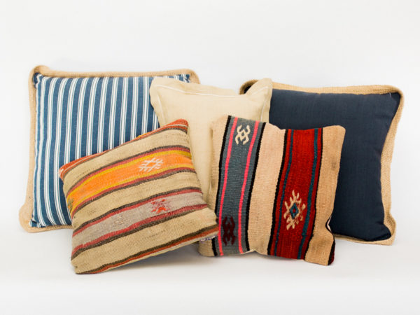 Burlap, Blue and Boho Pillows