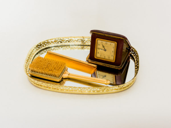 Gold Tray, Clock and Accessories