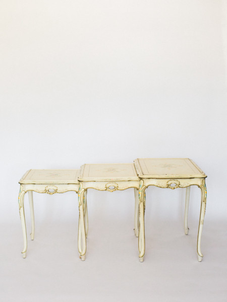 white nesting tables