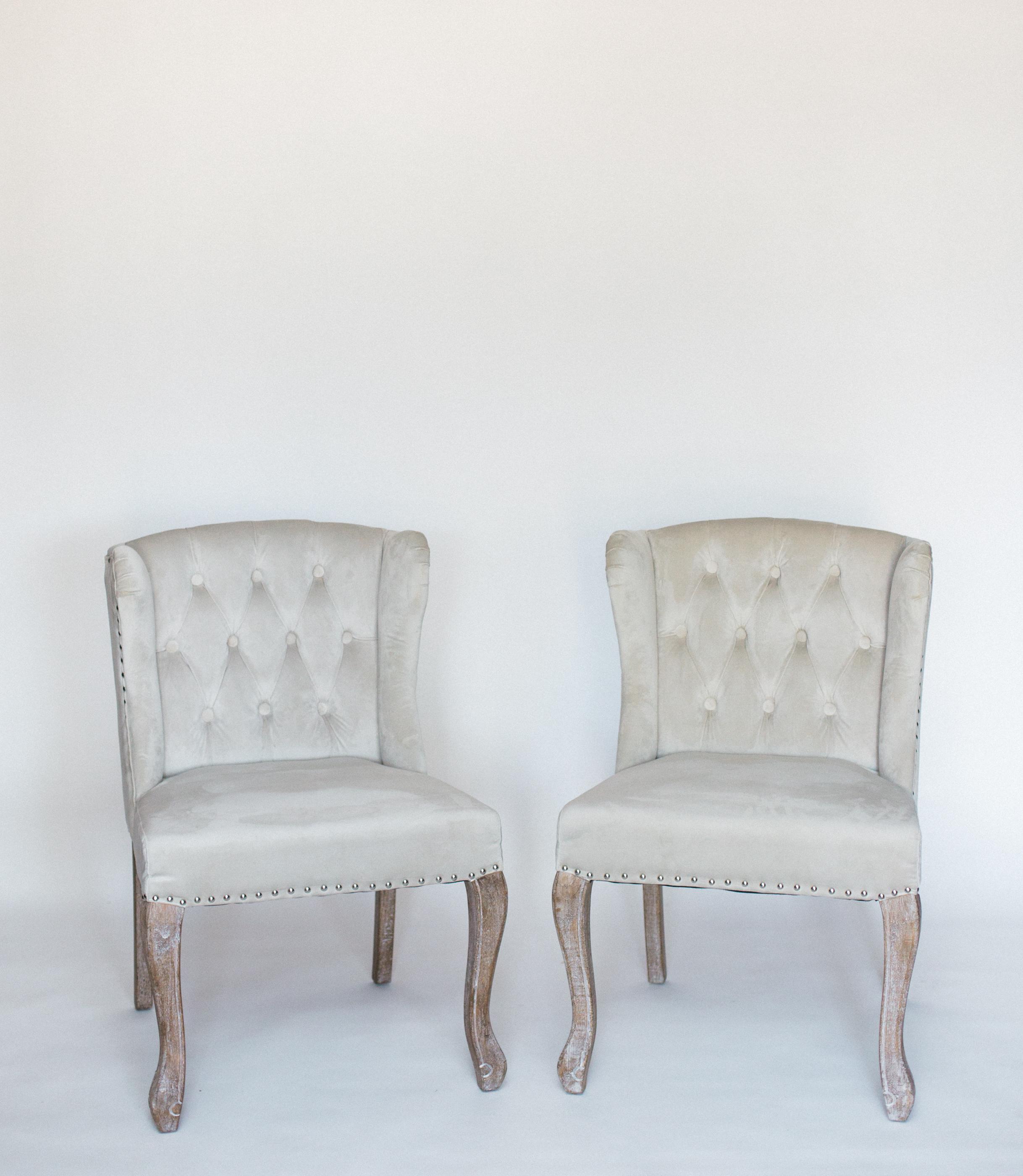 gray velvet chairs
