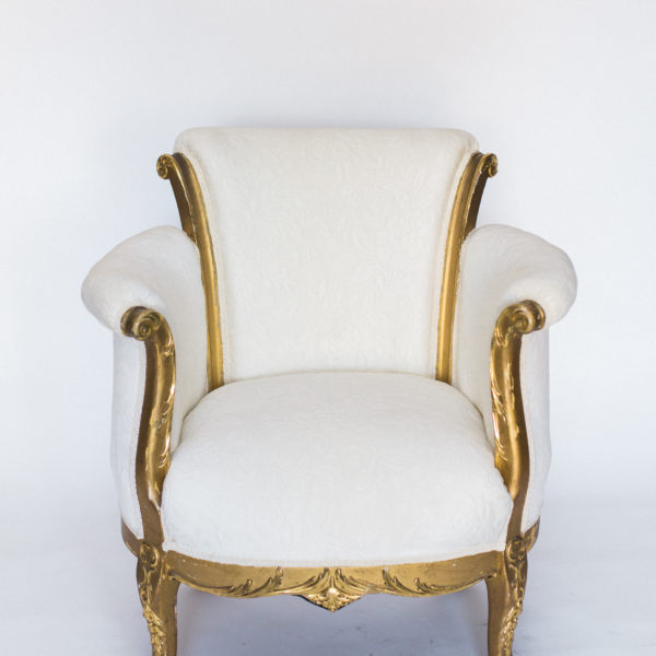 white and gold chair