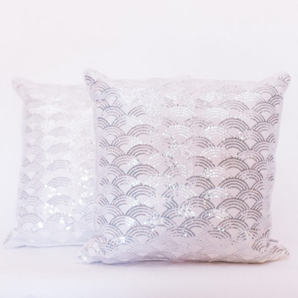 silver sequin pillows