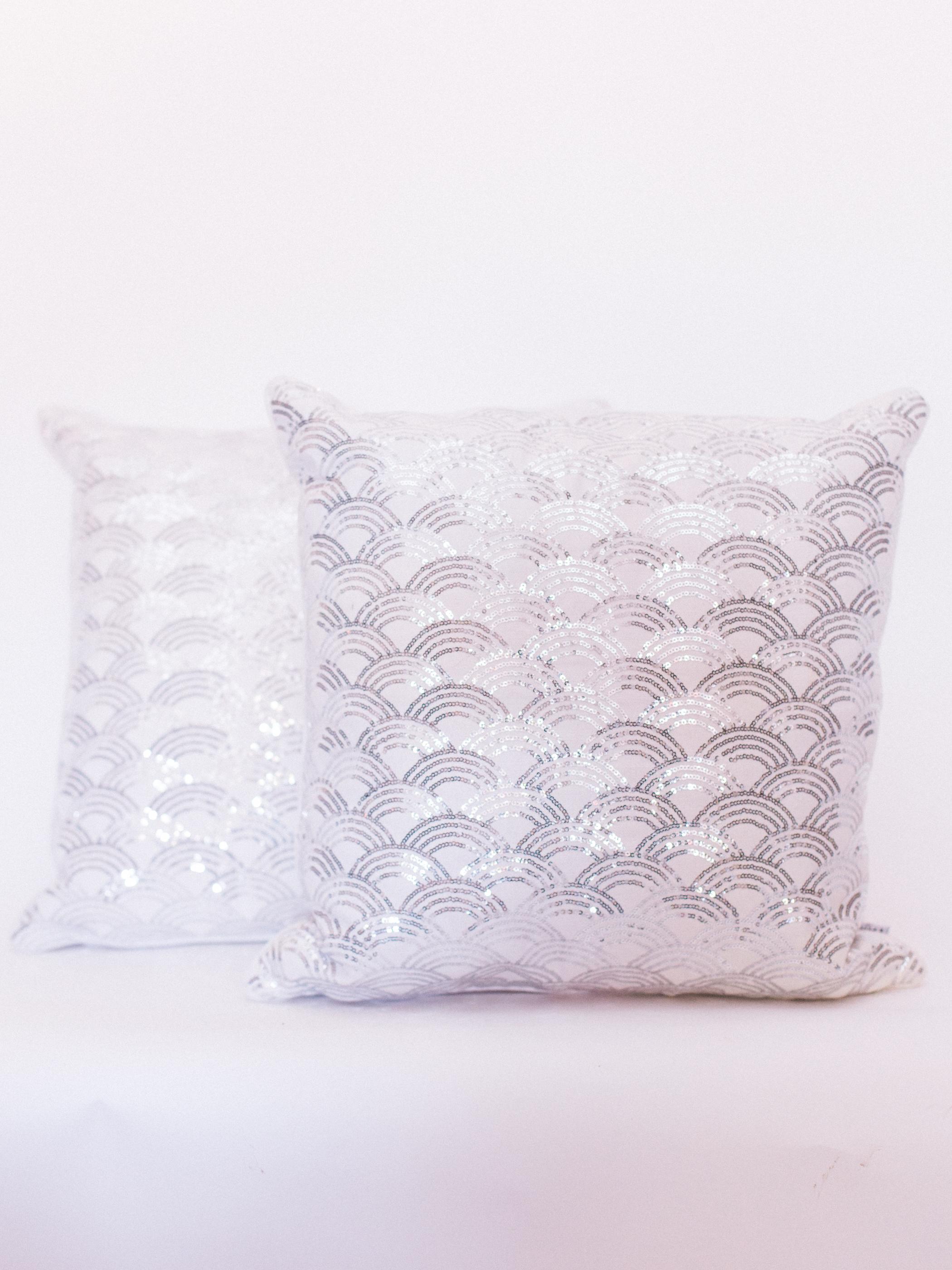 silver sequin pillows