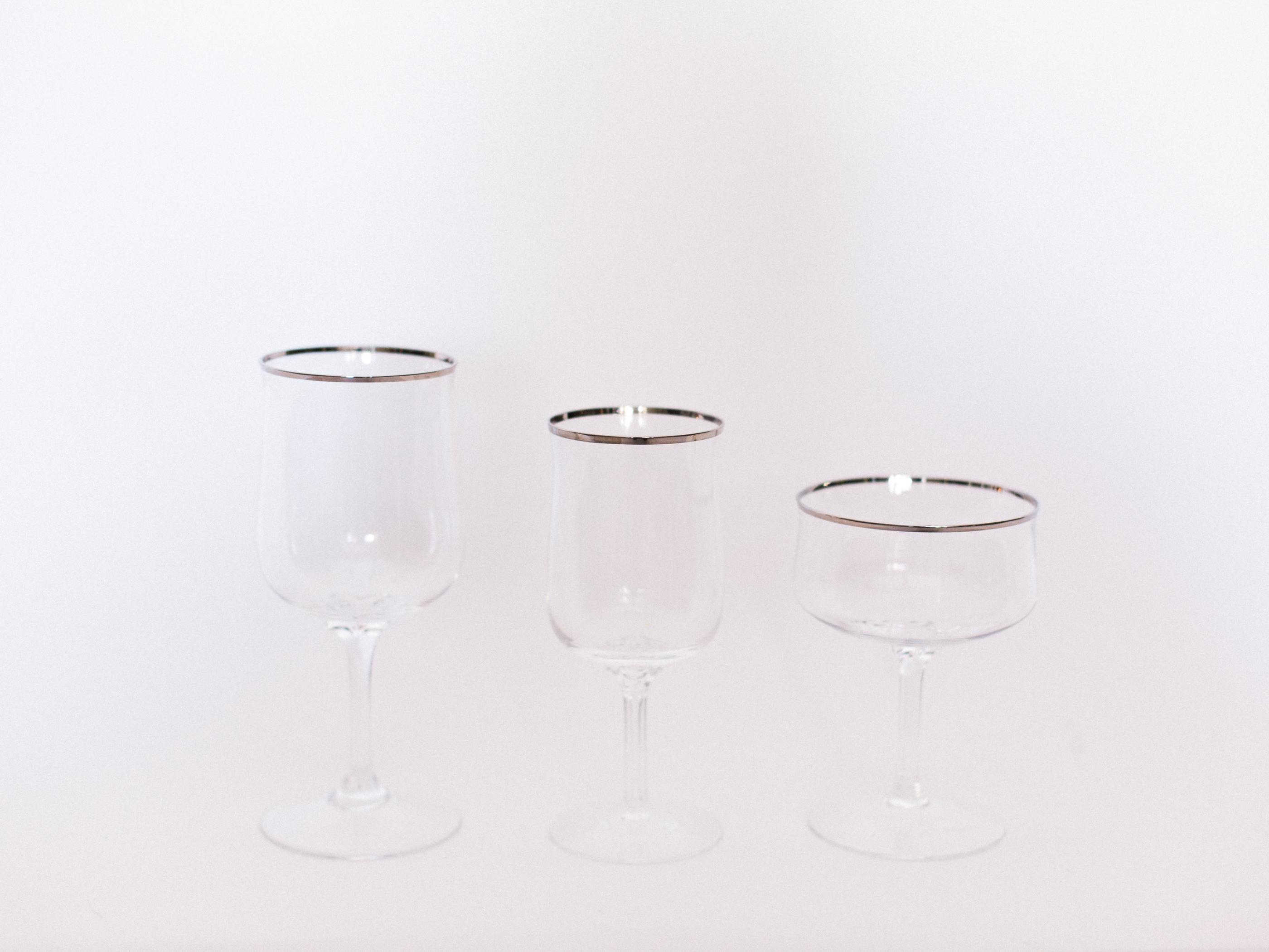 silver trim goblets