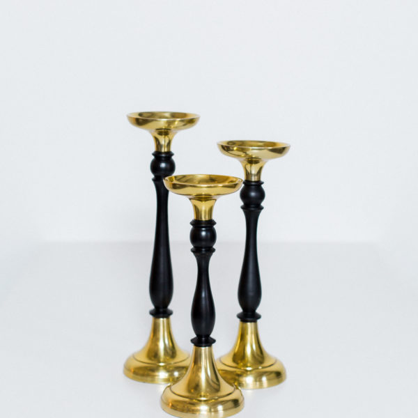 black and gold candlesticks