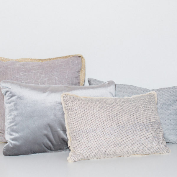 silver and gray pillows