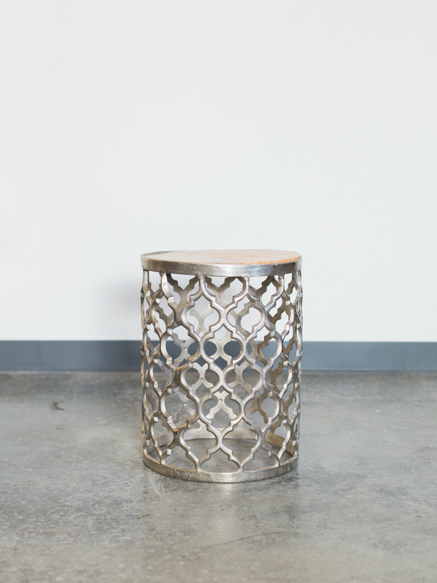 silver and wood side table