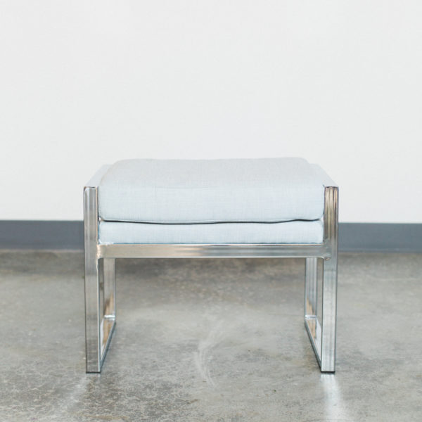 silver and blue bench