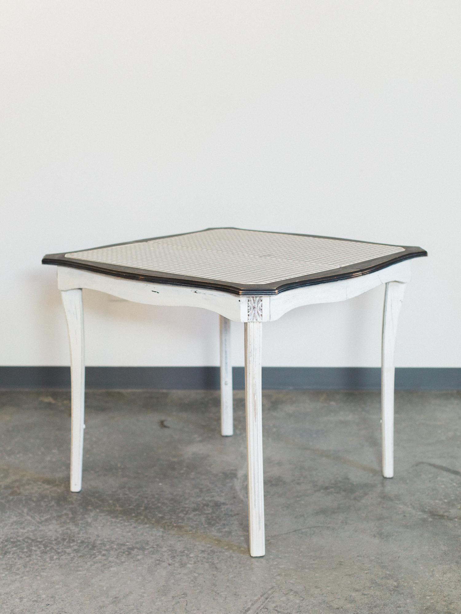 white checkered table