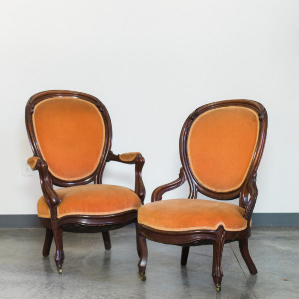 orange vintage chairs