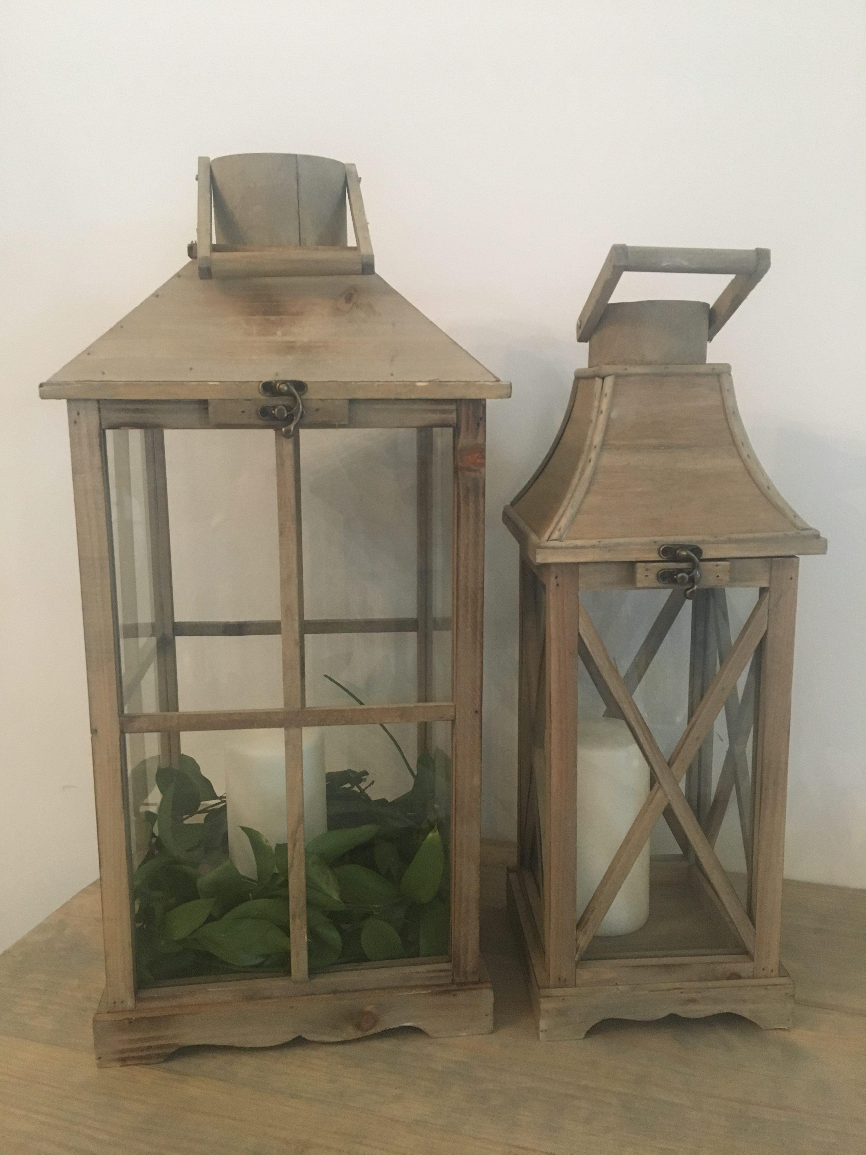 light wood lanterns