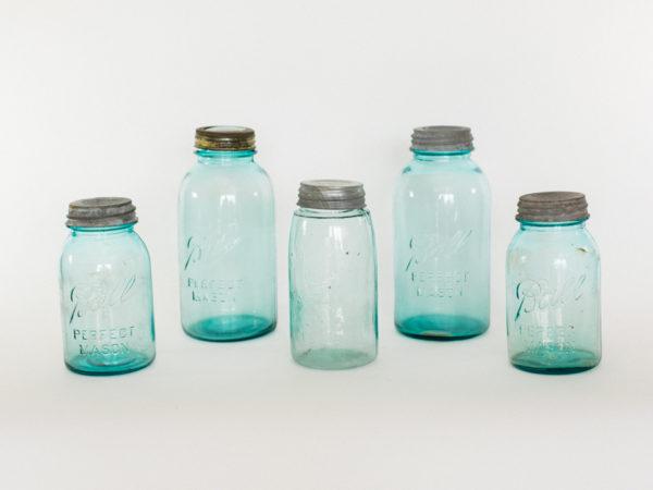 Large Blue Mason Jars
