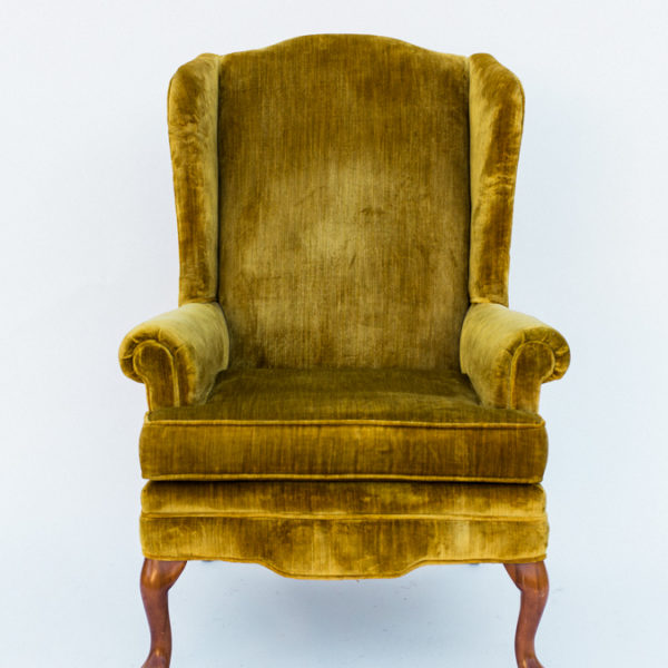 mustard wingback chair