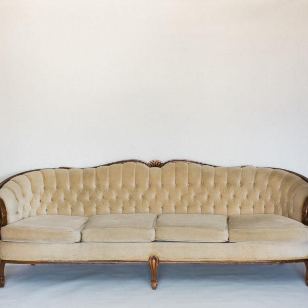 tan velvet sofa
