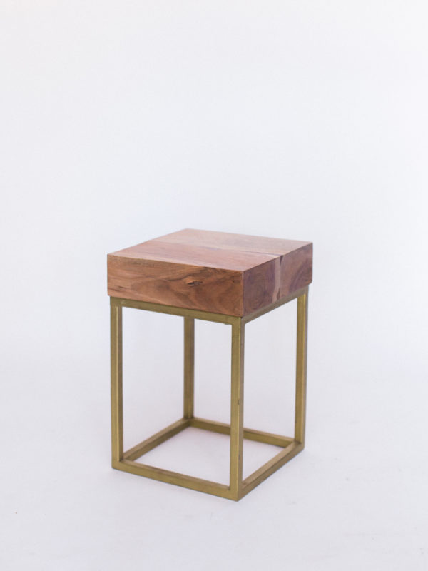 wood and gold side table