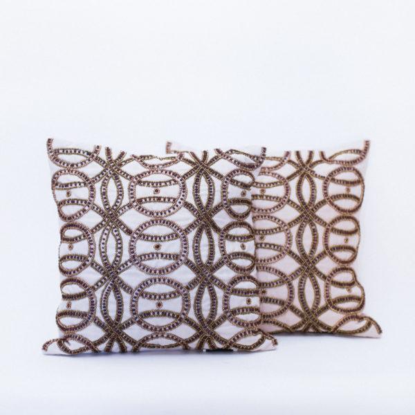 gold beaded pillows