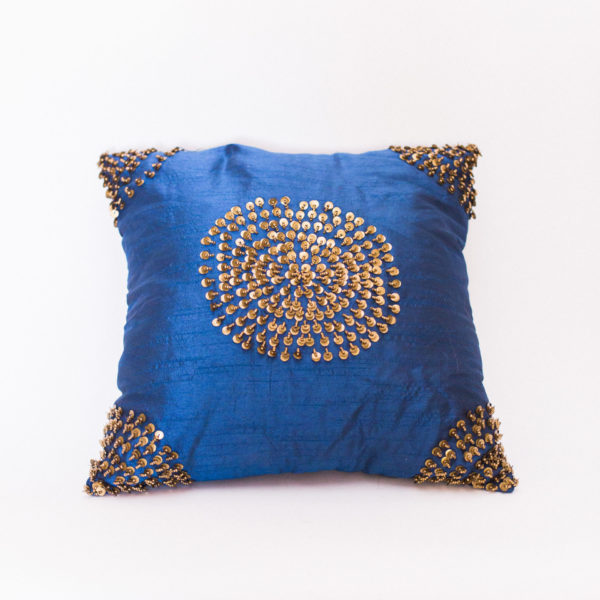 navy and gold pillow