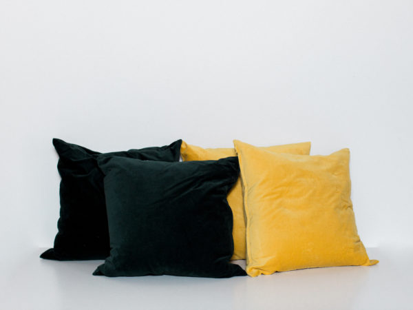green and yellow pillows