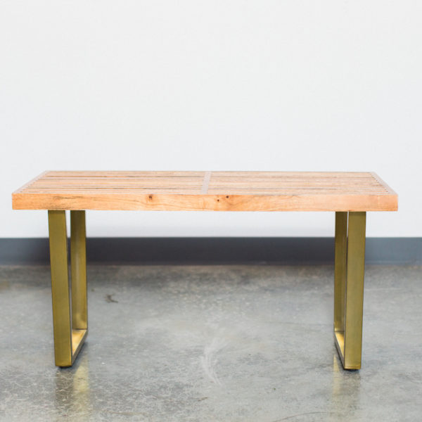 wood and gold bench