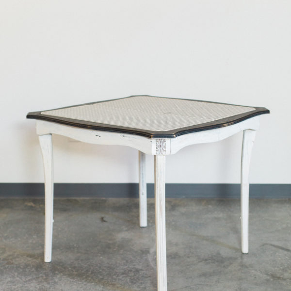 white checkered table