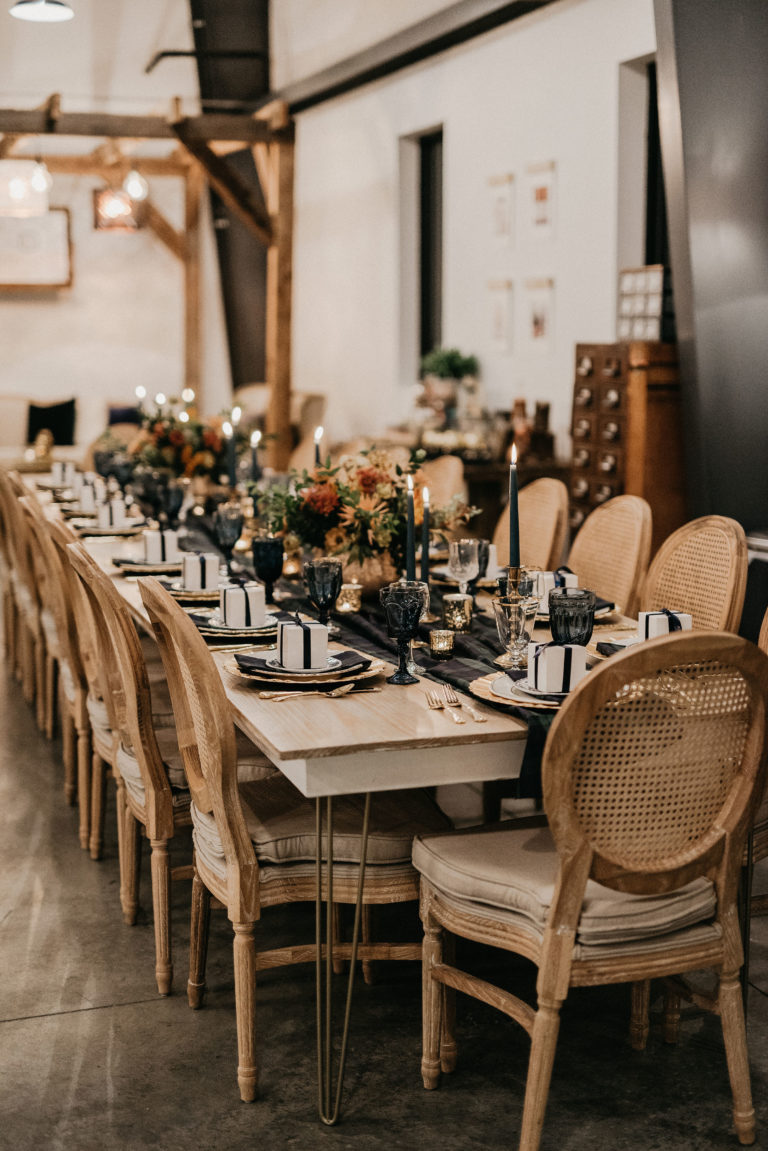 farm table with linen chairs