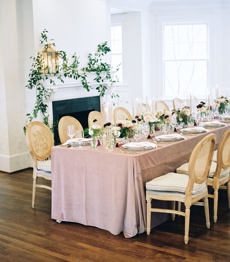 reception table and linen chairs